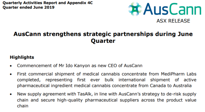 AusCann continues to strengthen strategic partnerships during June Quarter. You can view our June Quarterly Activities Report here: https://t.co/pdlWWjT3tv