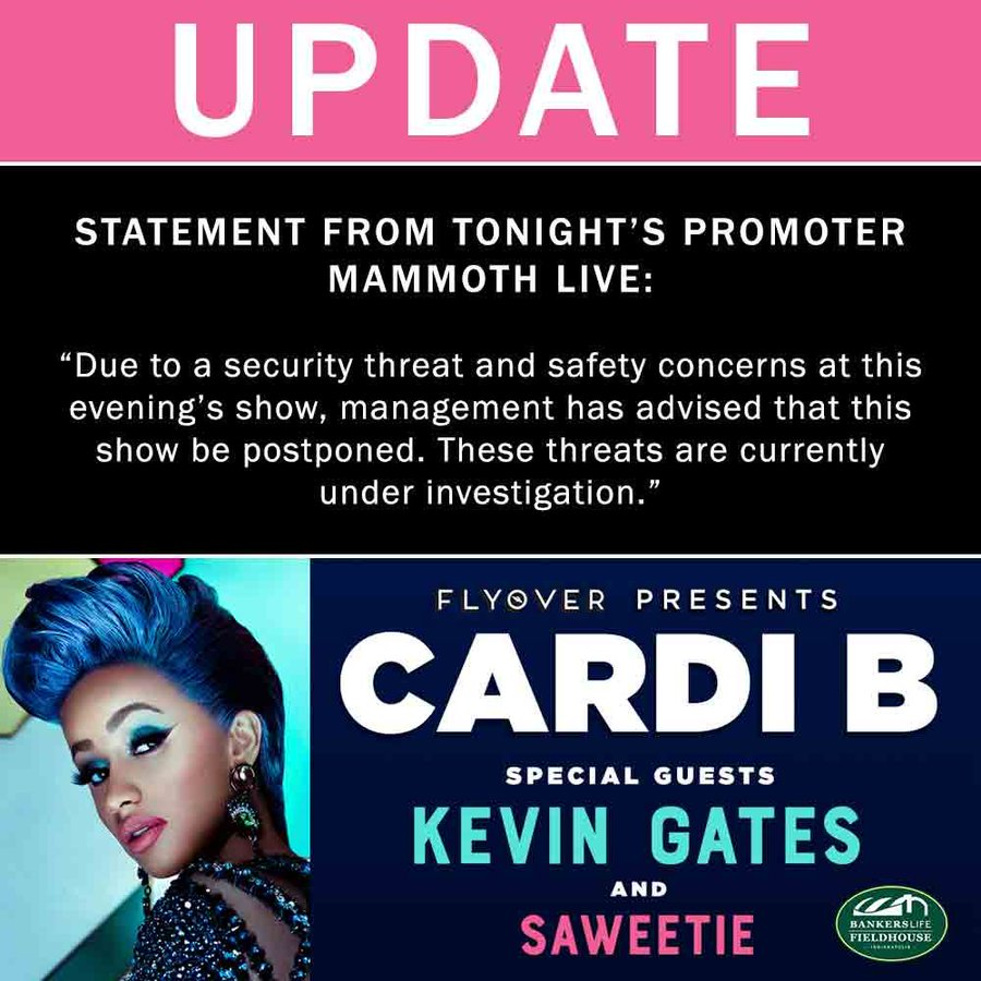 "STATEMENT FROM TONIGHT'S PROMOTER MAMMOTH LIVE: ""Due to a security threat and safety concerns at this evening's show, management has advised that this show be postponed. These threats are currently under investigation."""