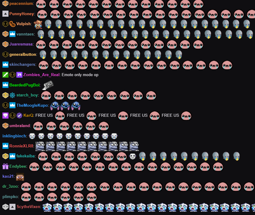 emotes only chat on the broadcast