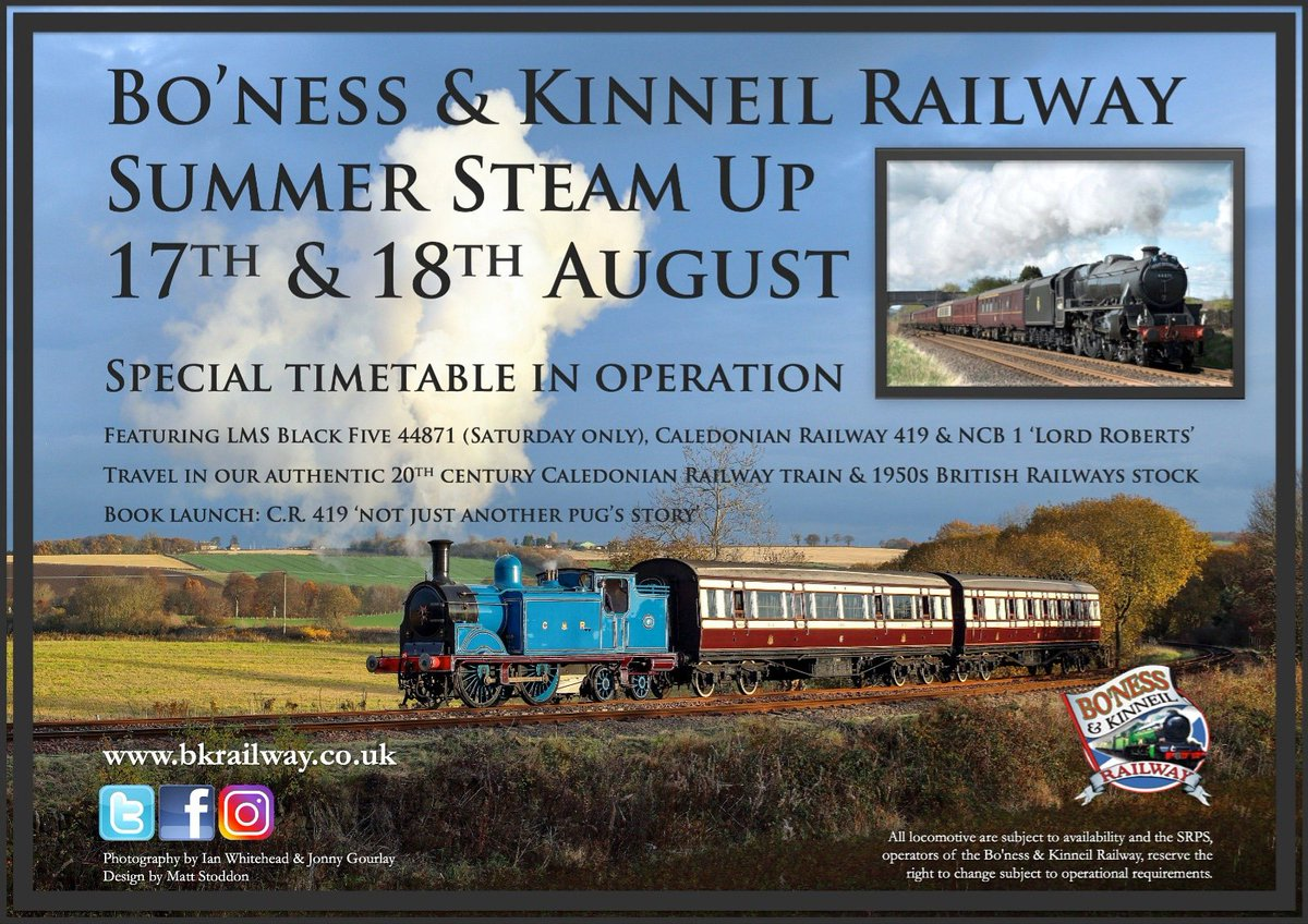 test Twitter Media - Head to @bonessrailway on Sat 17th & Sun 18th August for our Summer Steam Up, a brand new event for 2019. Featuring CR No. 419, complete with CR coaches!,  LMS Black 5 No. 44871 & NCB No. 1 Lord Roberts. It promises to be a great event. Full details 👉 https://t.co/hOAqTXU19c ^JS https://t.co/UGWwUjWySZ
