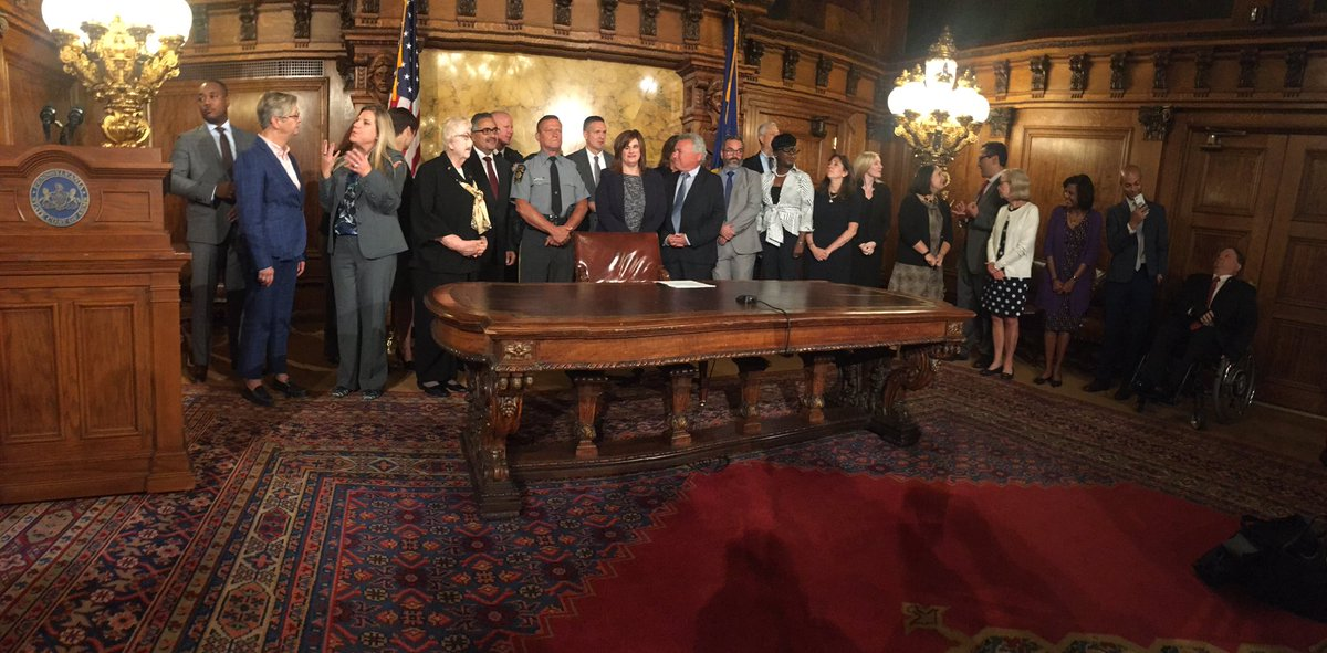 Just a few people gathered for this signing of an executive order by @GovernorTomWolf