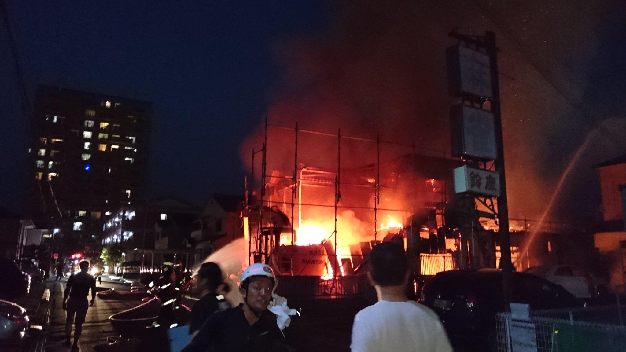 近江八幡市桜宮町で火事が起きている現場の画像