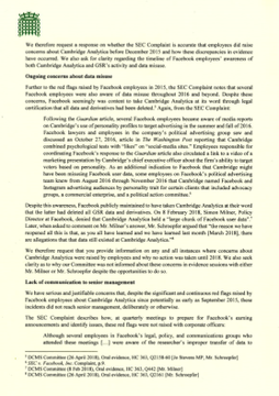 The letter requests clarity on the timeline regarding Facebook employees' awareness of Global Science Research and Cambridge Analytica and how the discrepancies in evidence occurred. It also requests information on all instances where concerns about Cambridge Analytica were raised and why the Committee was not informed about these in 2018.