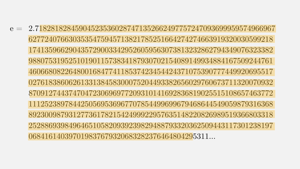 Heres an interesting surprise: if you write down the digits of e you quickly find a 649 digit prime!