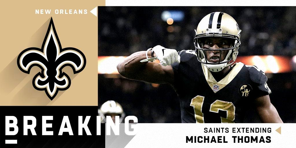 BREAKING: The @Saints and Michael Thomas (@Cantguardmike) have agreed on a 5-year, $100 million extension ($61 million in guarantees) that makes him the highest-paid WR in NFL history. (via @RapSheet)