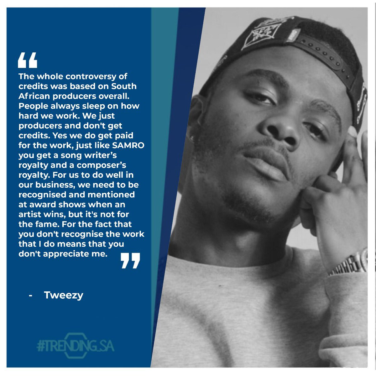 Music Producer and Rapper @TweezyZA on artists not paying producers credits. #tsaonline #tsaon3