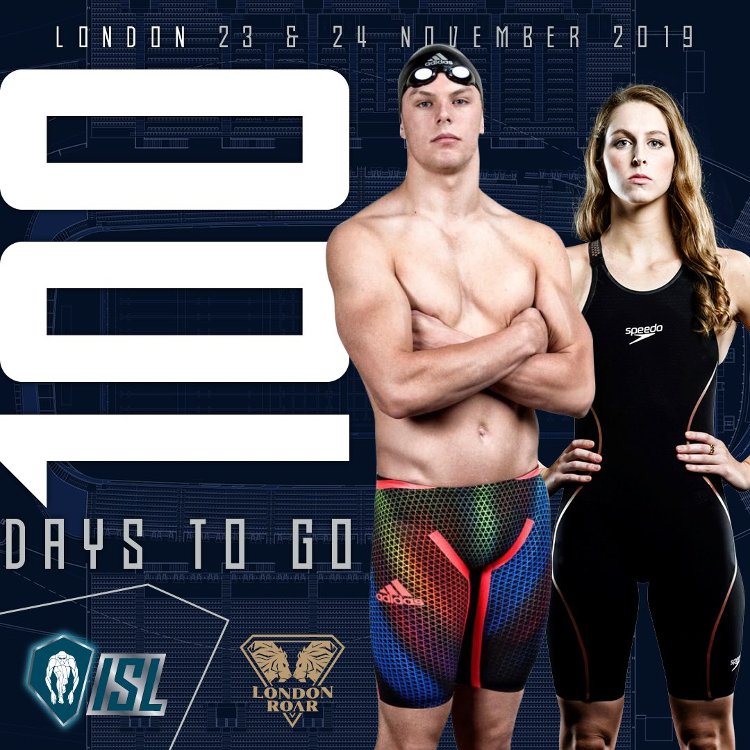 100 days to go until the world's best swimmers compete at the London Aquatic Centre ... the countdown is ON! #ISL2019 #londonmatch #londonroar #worldsbest #dreamteam #watchthisspace