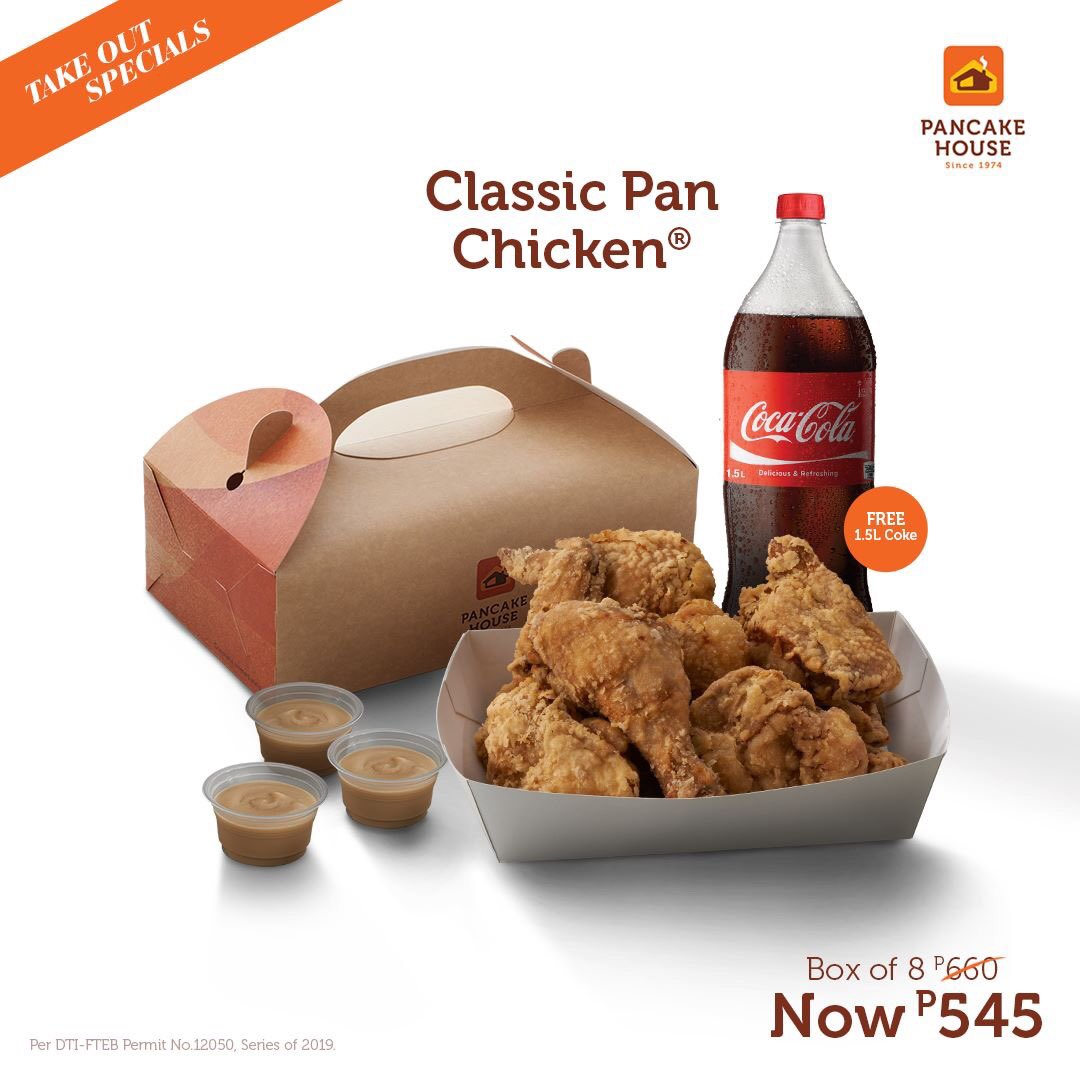 Savings don't fly! Because your favorite 8-piece Classic Pan Chicken Box is now only P545. Comes with FREE 1.5L Coke. Available for takeout only. #ChooseToFeelGood https://t.co/js6Z9CFH8p