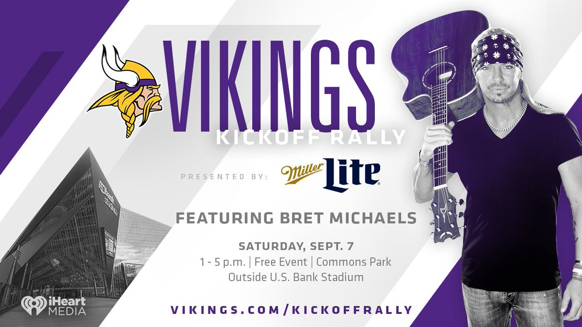 Minnesota get ready to party! #SingerSongwriter #BretMichaels kicks off the 2019 @Vikings @NFL season bringing his record breaking #Unbroken world tour to U.S. Bank Stadium on 9/7. Get full event info >>>  https://www. vikings.com/fans/kickoff-r ally  …  and make plans to be there! - Team Bret <br>http://pic.twitter.com/bjK5hNbbm5