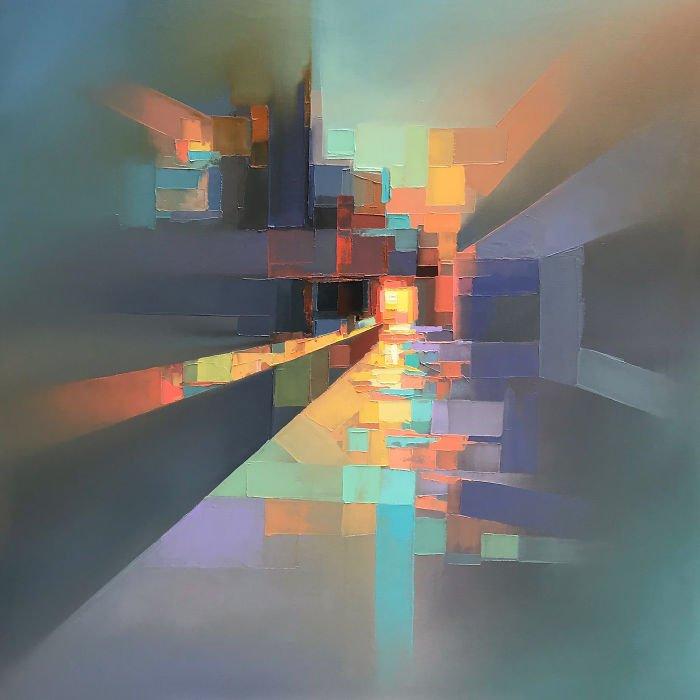イギリスのアーティスト、ジェイソンアンダーソン氏の描くステンドグラスアートがとても抽象的なのに、なんとなく近代的な風景を連想できて、どこか光を感じる感覚ですごくエモい。(語彙力・・・)