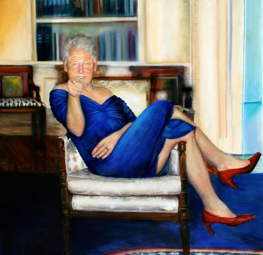 Miren lo que encontraron dentro de la mansión del pedofilo Jeffrey Epstein en NYC. Retrato de Blill Clinton con vestido azul y tacones rojos, el mismo Bill Clinton que viajó en más de 25 oportunidades a la isla de orgias y pedofilia. Los puntos se conectan cuando se conectan..