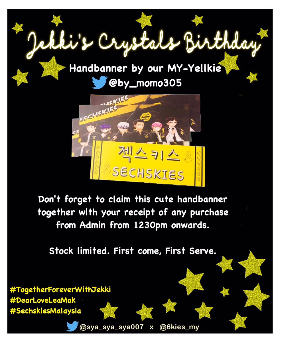 Hi Yellkies~~~ Don't forget to claim this cute handbanner from @by_momo305 together with your receipt of any purchase from admin. Thank you momo 😍Limited, First come first serve 💛💛💛#TogetherForeverWithJekki#DearLoveLeaMak#SechskiesMalaysia