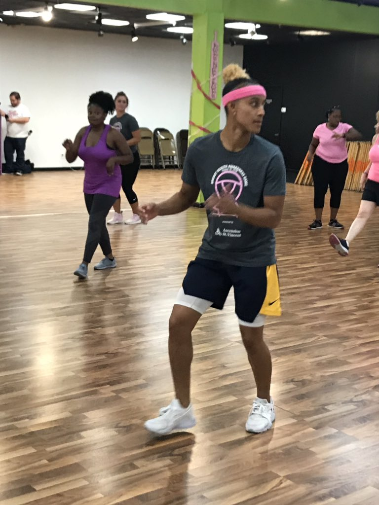 As a part of the @IndianaFevers commitment to community, tonight we hosted Zumbathon to raise awareness for breast health! Rookie @TheReal_41 joined participants for a night full of Zumba and emphasized the importance of staying fit and regular breast health checkups!