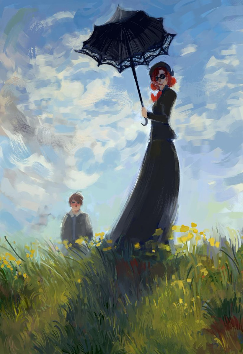 - care for a walk, brother francis? nanny with a parasol | en promenade avec warlock  #GoodOmens  #GoodOmensFanArt #ineffablehusbands #Aziraphale #Crowley #aziraphalexcrowley #crowleyxaziraphale<br>http://pic.twitter.com/ulf1nxb0CD