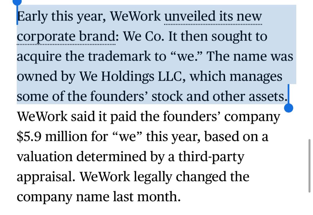 """WeWork's official name is just """"We"""", a trademark that it licenses from its own founder for $5.9M a year. Yes, the same founder who decided what to name the company charges $6M/year to let them use it."""