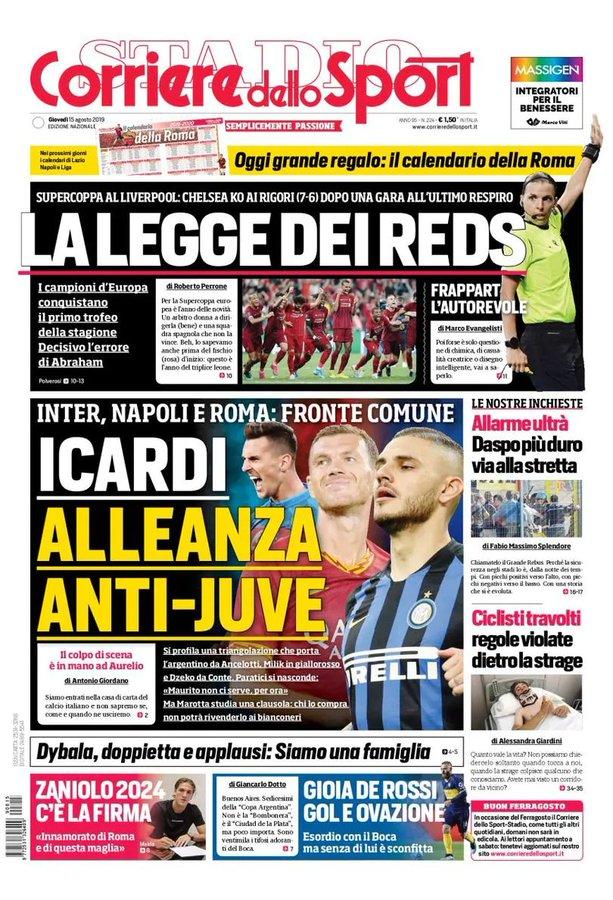 Corriere Dello Sport Calendario.Front Pages La Gazzetta Dello Sport Corriere Dello Sport