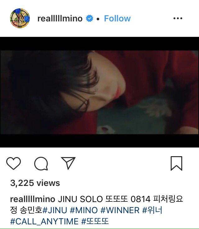 "190813 #MINO IG update promoting JINU SOLO """