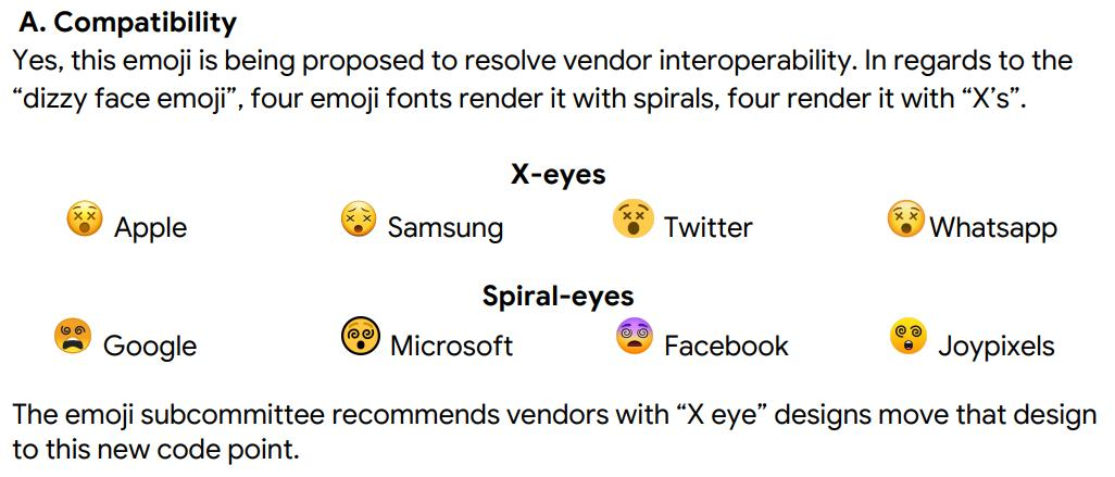 Proposal for Face with X Eyes emoji (unicode.org/L2/L2019/19303…) in order to try to sort out the chaos created by incompatible vendor implementations of the existing Dizzy Face 😵 emoji.