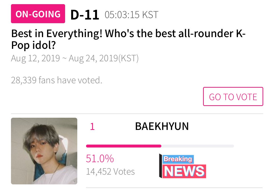 VOTE] 190813 | #Baekhyun is nominated for 'Best all-rounder K-Pop