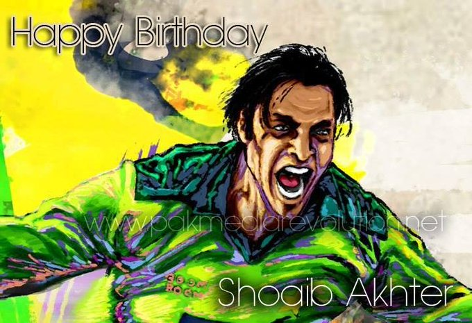 Happy Birthday to the Fastest Bowler in the World (161.3 km/h) The Rawalpindi Express Shoaib Akhtar
