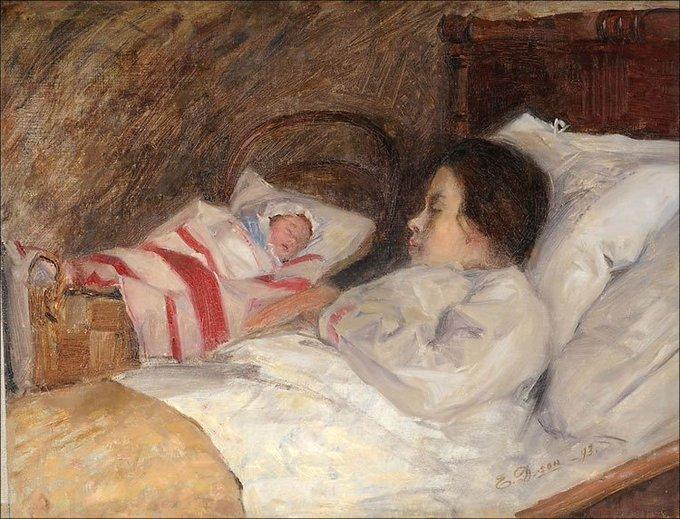 Finnish artist Elin Kleopatra Danielson-Gambogi, Aiti and child, 1893 #womensart