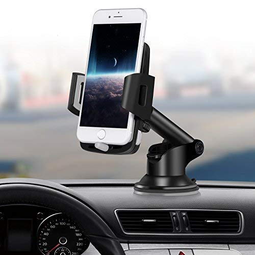 Windshield Dashboard Cell Phone Holder Mount for Car with Strong Suction Cup for iPhone X 8 7 Se 6S 6 5S Samsung Galaxy S9 S8 S7 S6 HTC Nokia LG BlackBerry and More Car Phone Holder