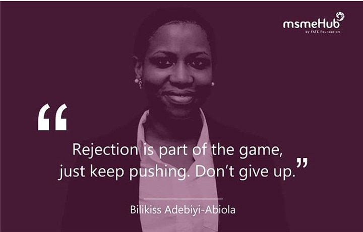 """Rejection is part of the game, just keep pushing. Don't give up""- @bilikiss  . #msmehub #smallbusinessowners #inspiringquotes #businessquotes #naijaentrepreneurs #smes #businessinnigeria #madeinnaigeria<br>http://pic.twitter.com/eydzflAjMd"