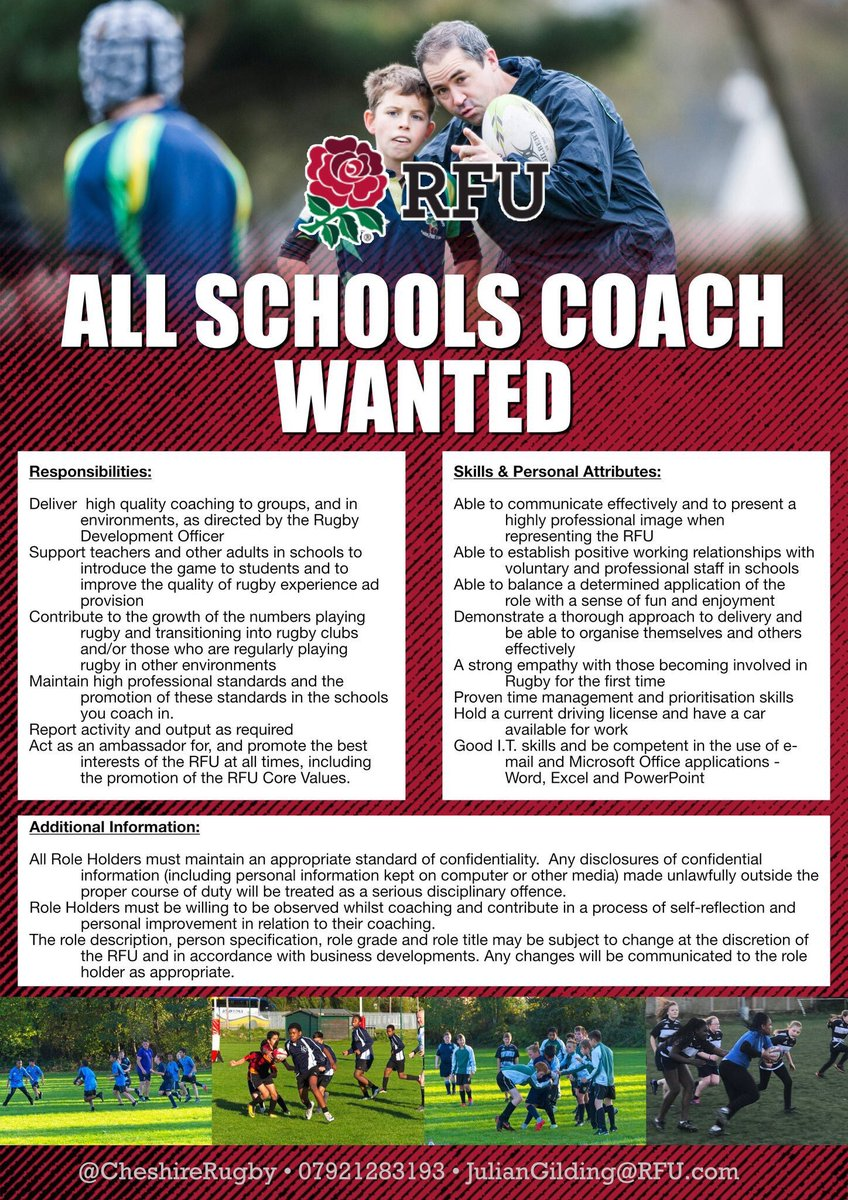 test Twitter Media - All Schools Coach(es) wanted  Exciting opportunities for a new casual coach(es) to work on our programmes in the Congleton and Crewe & Nantwich areas To Apply :- Send a Coaching CV and brief cover letter to juliangilding@RFU.com  For further information:- https://t.co/KmAZYizrri https://t.co/ZFD6bVuBuV