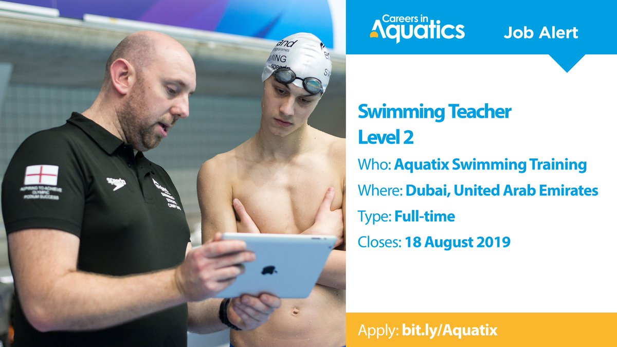 Swim England @Swim_EnglandJob Alert | Level 2 qualified Swimming Teacher needed by Aquatix Swimming Training in Dubai, United Arab Emirates.Applications close on Sunday so get yours in before it's too late.Closes: 18 AugustApply: http://bit.ly/Aquatix