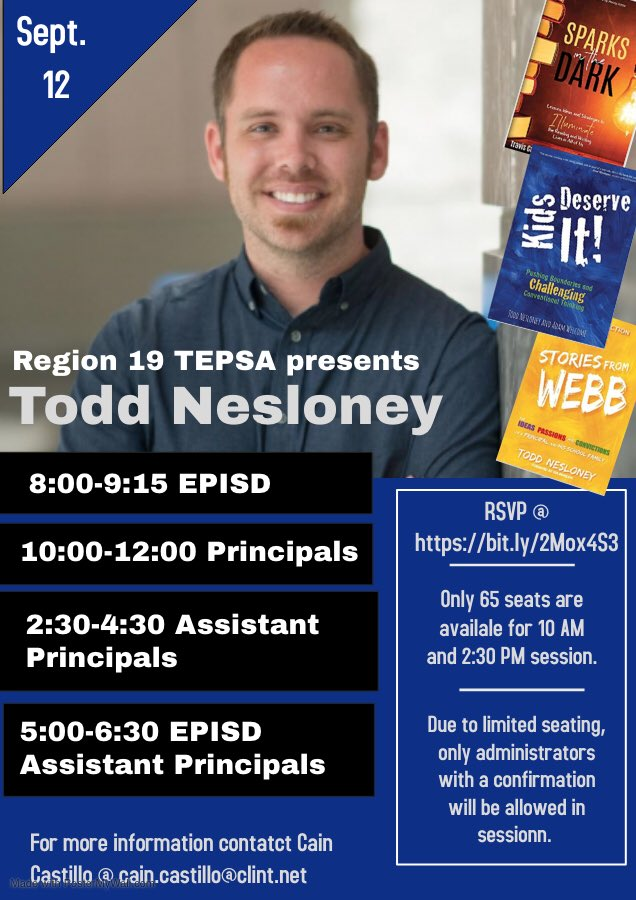 We are so honored to have Todd visiting TEPSA Region 19. @TEPSAtalk @YsletaISD