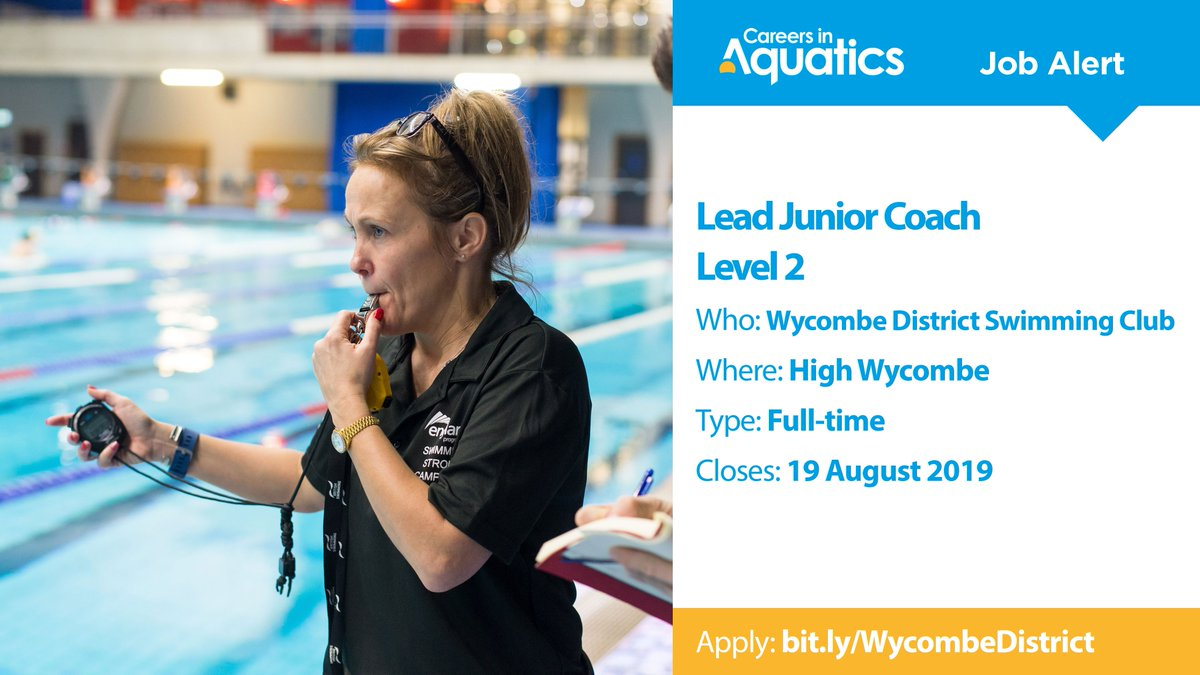 Job Alert | Level 2 qualified Lead Junior Coach needed by Wycombe District Swimming Club in High Wycombe.Applications close on Monday so get yours in before it's too late.Closes: 19 AugustApply: http://bit.ly/WycombeDistrict
