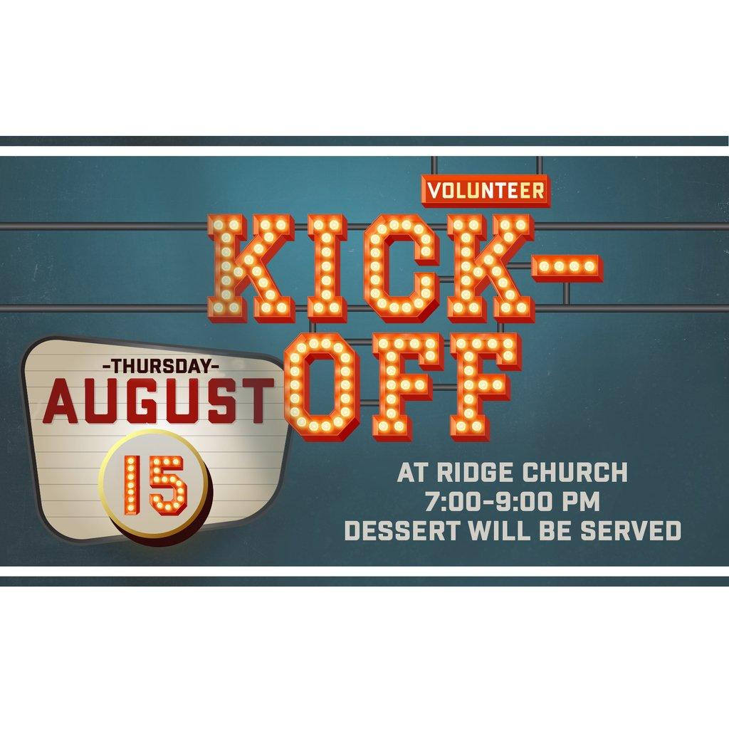 Ready to get plugged in at Ridge? Looking for your place to serve and think your place may be with children? Join us at our Children's Ministry volunteer Kick-Off event THIS Thursday, August 15th @ 7:00 at the Warehouse Cafe.  #jointhestory  RSVP:  http:// evite.me/XTHTASkdAx     <br>http://pic.twitter.com/3DWIboi9SL