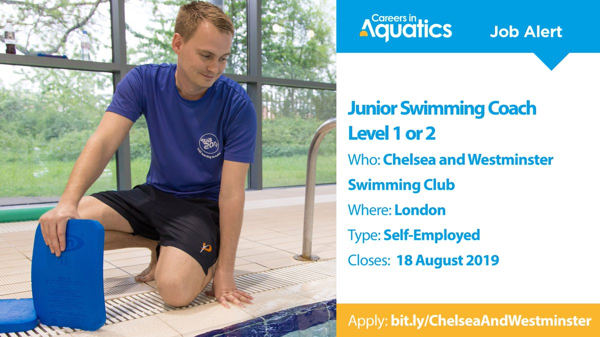 Job Alert | Level 1 or 2 qualified Junior Swimming Coach needed by Chelsea and Westminster Swimming Club in London.Applications close on Sunday so get yours in before it's too late.Closes: 18 AugustApply: http://bit.ly/ChelseaAndWestminster …