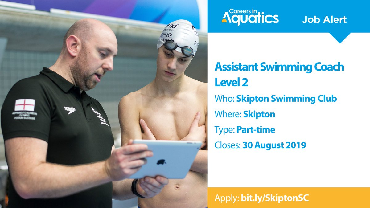 Job Alert | Level 2 qualified Assistant Swimming Coach needed by Skipton Swimming Club in Skipton.Applications close in two weeks so get yours in before it's too late.Closes: 30 AugustApply: http://bit.ly/SkiptonSC