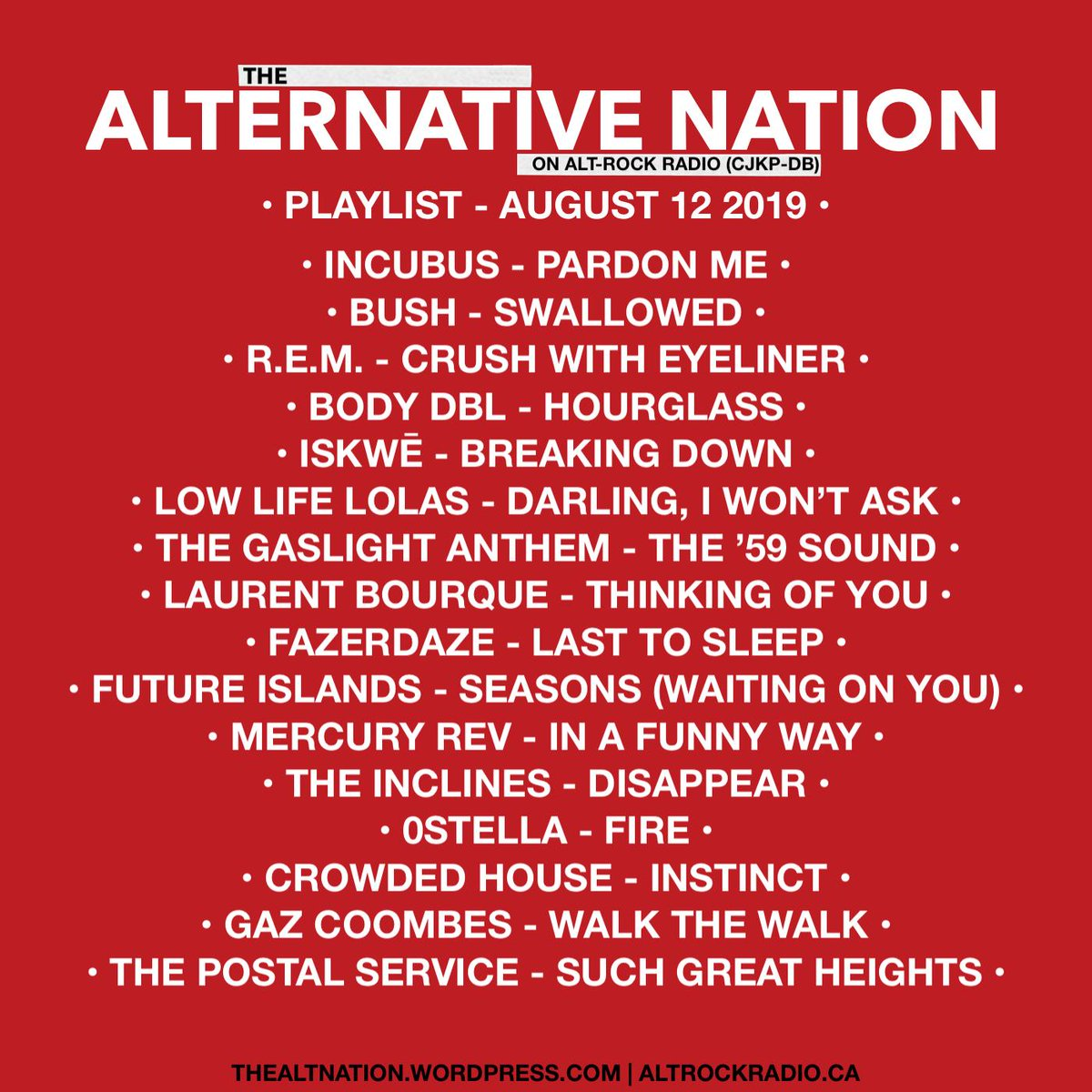 Playlist for last nights edition of The Alternative Nation on @altrockradioca. If you missed the show or live outside of Canada, you can stream it now on http://mixcloud.com/thealternativenation … #Playlist #Radio #Mixcloud #Canada #Music #yourFMalternative #Indie #AltRock #Pop #Electronicpic.twitter.com/SW8kaGsMBO