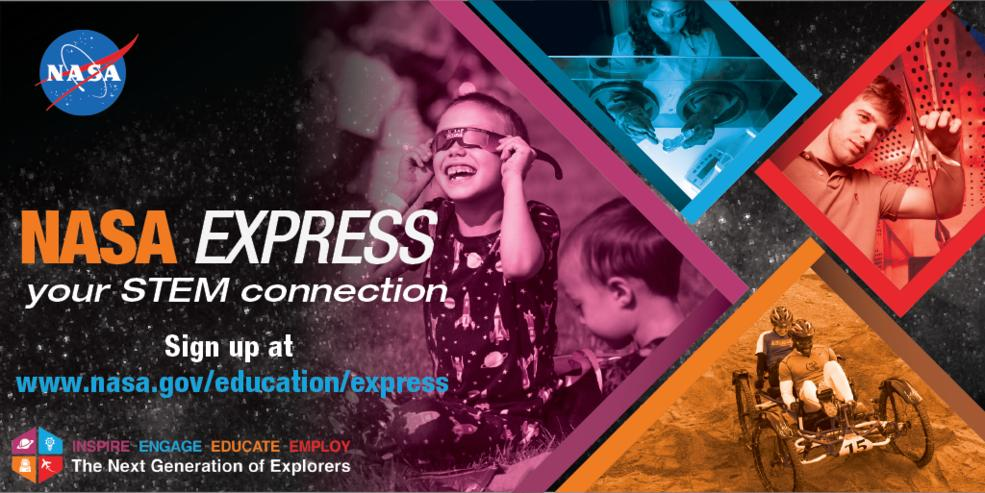 Are you a NASA EXPRESS subscriber? If not, what are you waiting for? Its an easy way to keep up with the latest opportunities -- workshops, contests, internships, resources & more -- in a weekly email. Dont miss this weeks edition, sign up at nasa.gov/stem/express.