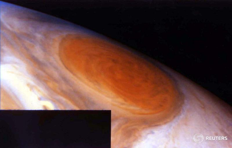 Today in History - 1996: This image of Jupiters Great Red Spot is a mosaic of two images taken by @NASAs Galileo spacecraft. Data sent back by #Galileo indicated there may be water on one of Jupiters moons, heightening the possibility it could support a primitive life form.