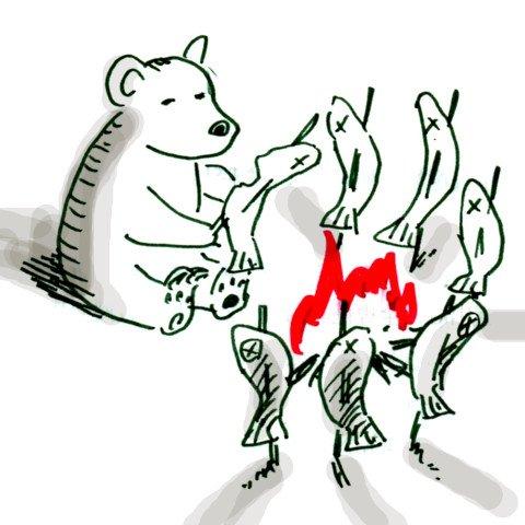 熊が串打ちした魚を焚き火で焼いてる柄の絵皿が家にあって、熊ってそのくらいのことをできる動物なんだと思ってた。 #子供の頃の勘違いをあえて言おう