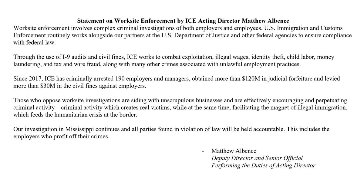 Statement on #Worksite Enforcement by ICE Acting Director Matthew Albence