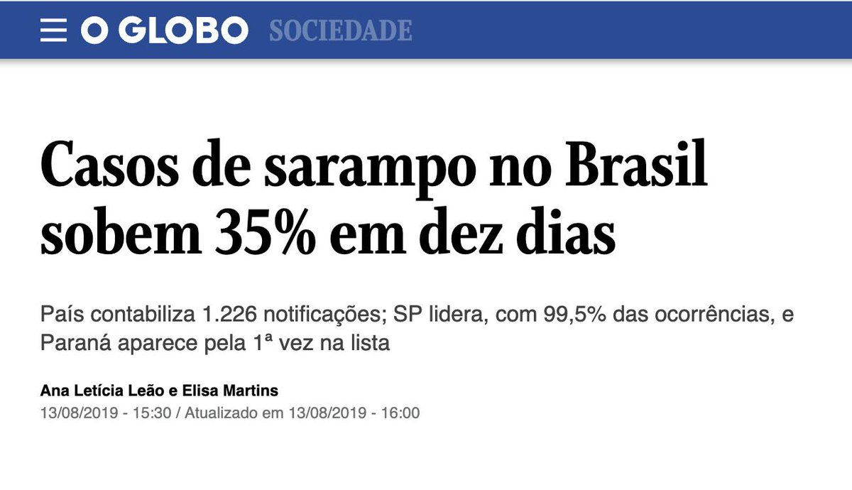 A campanha anti-vacina segue a todo vapor no Brasil.Líderes q são anti-ciência e revisionistas causam esse tipo de influência na população.A situação é emergencial. Apenas 29% da meta de vacinação foi atingida em SP. VINTE E NOVE POR CENTO!É inacreditável!