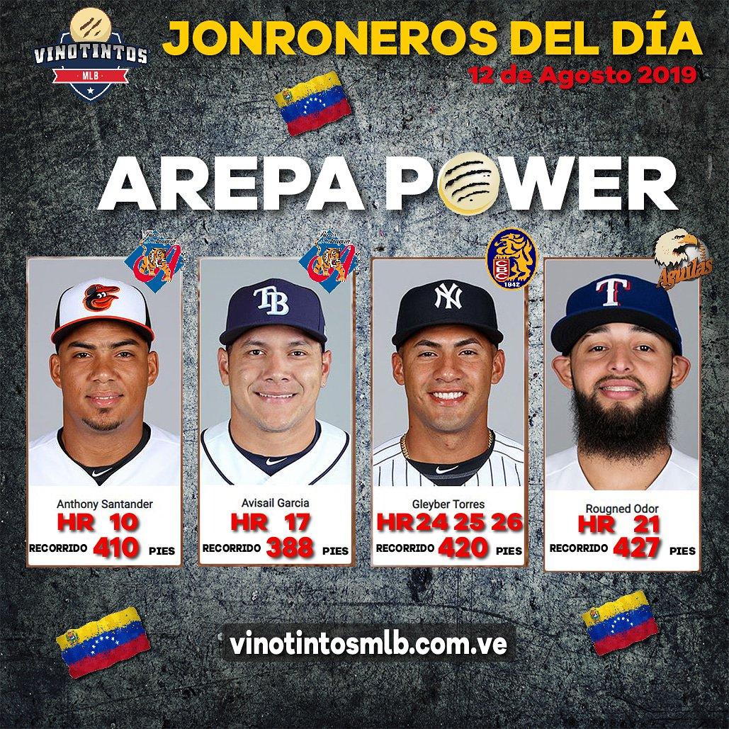 🇻🇪🔥⚾😎LOS AREPA POWER DEL DÍA 12 DE AGOSTO😎⚾🔥🇻🇪 Aquí les mostramos los #peloteros de #Venezuela que la sacaron del parque el día de ayer. Mencion especial para #Gleyber #Torres quien bateó 3 #vuelacercas, continuando con su dominio total del #Baltimore.
