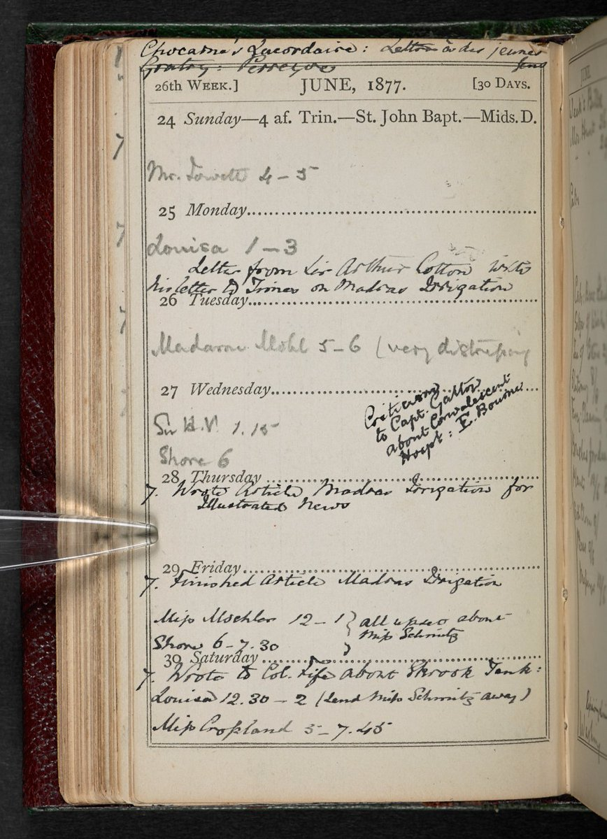 Florence Nightingale died #otd in 1910.   This notebook, on display in #MakingYourMark, is a record of her activities in 1877. She used a pencil for future appointments, presumably so that they could be erased if plans changed, and an ink pen for events once they had taken place. <br>http://pic.twitter.com/yHcFNcAX6y