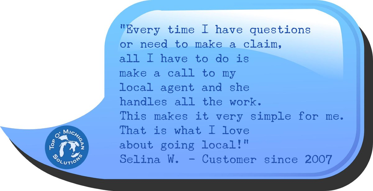 #TestimonialTuesday - Thank you for the great review Selina! These are some of the many reasons our clients have trusted Top O' Michigan for 45+ years as their local insurance solution.   Hear from other clients at https://t.co/CK61BL1ceD #testimonial #local #insurance #solutions https://t.co/fBsq2B5VrQ