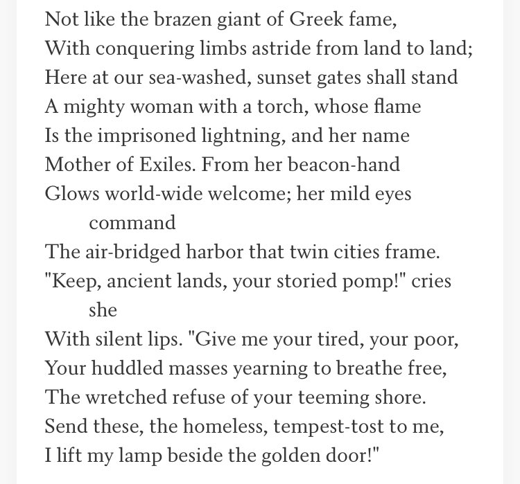 Read this. Over and over. Read it again. Memorize it. WORLD-WIDE WELCOME. This is what we're supposed to stand for.   The New Colossus, by Emma Lazarus <br>http://pic.twitter.com/sfFuKZKE1R