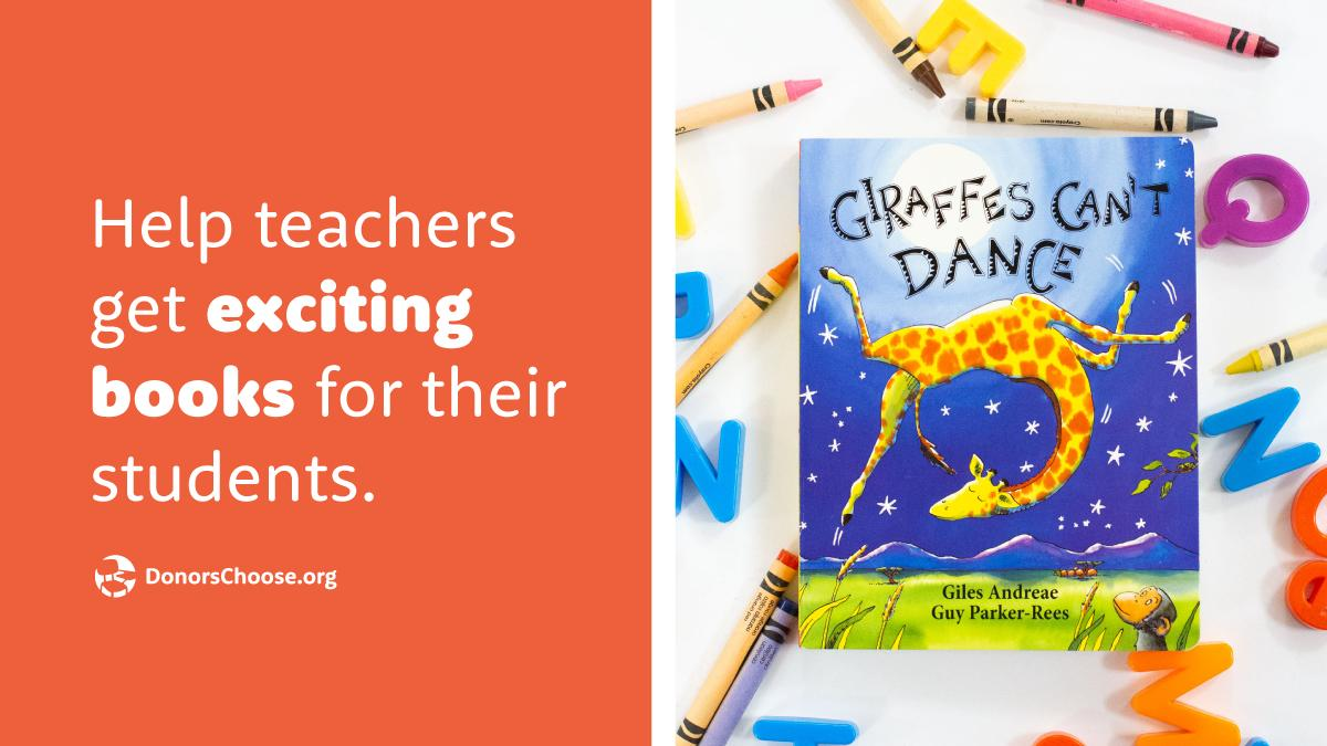 Books, books, books! Kids will never have enough books.  Supporting classroom projects asking for books is one click away and today only, your donations will get a 50% boost.   https://bit.ly/2MZiXmt