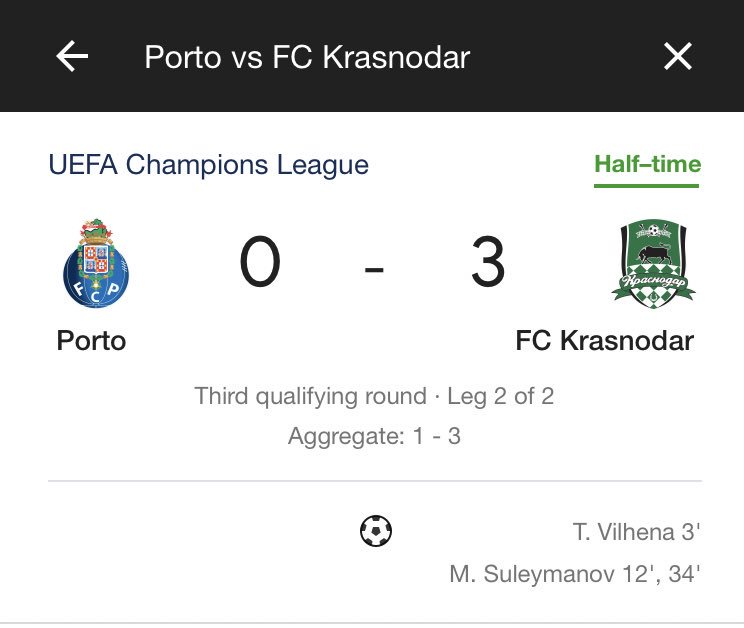 Bet there is one lucky bastard thats bet on FC Krasnodar to beat Porto,  and there's not doubt he's about to win a fortune..  <br>http://pic.twitter.com/auHaKpIey6