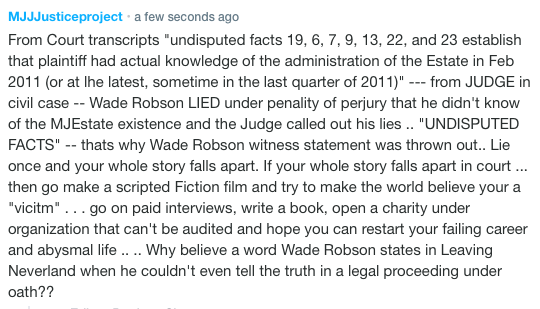 """You mean the #WadeRobson who lied under oath under penalty of perjury? THAT Wade Robson? The one whose own mother contradicted his """"Grand Canyon abuse"""" ?  the one who stated this is """"NOT ABOUT MJ""""  THAT Wade Robson? Who gives a flying rat's A$$ whether he is pleased?<br>http://pic.twitter.com/WRZxlo1FDE"""