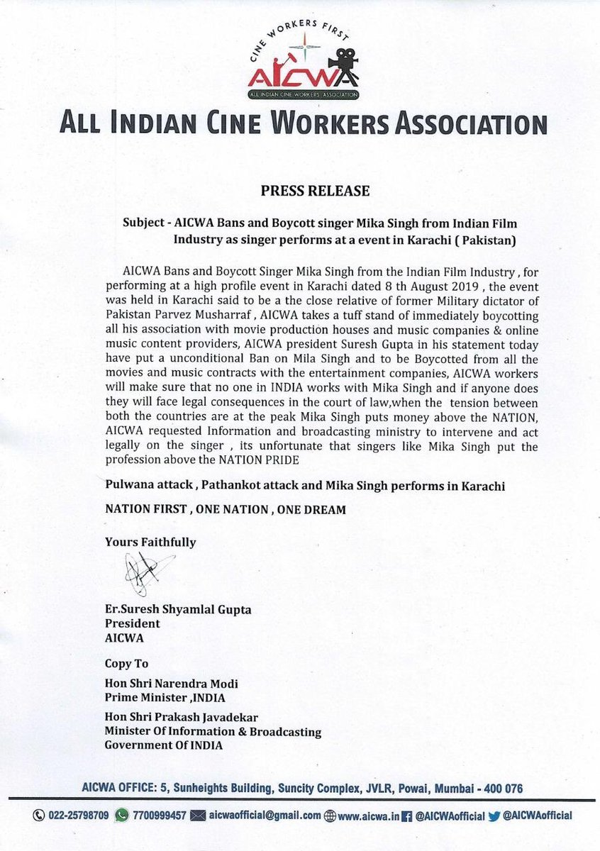 Parent body of Indian film industry in Mumbai bans @MikaSingh. Says will make sure NO ONE IN INDIA works with him. This after he performed in Karachi post abrogation of #Article370