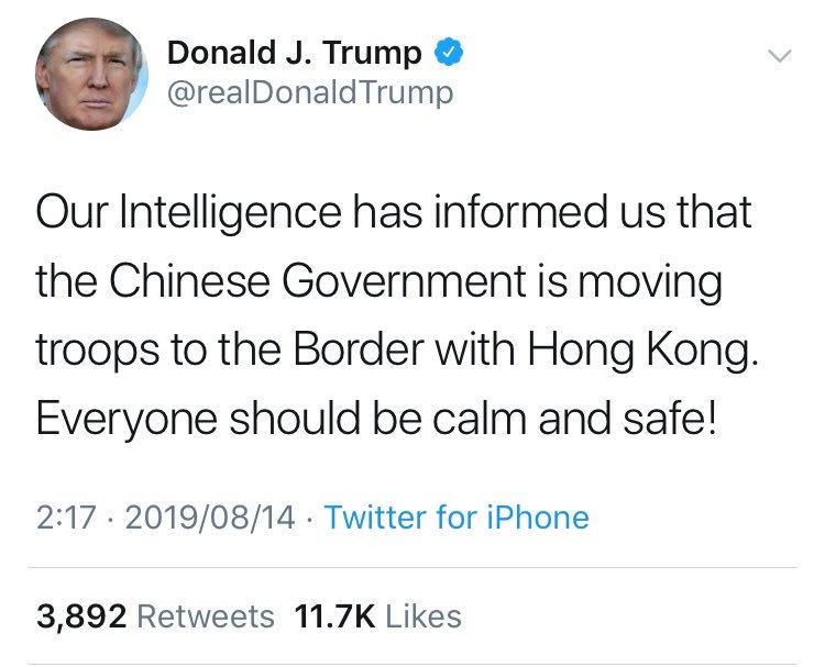 『中国政府が人民解放軍を香港周辺に集結させている、と諜報機関から連絡が入った』ということまでツイッターに書き込んでしまう、今日の世界で一番ホットなツイ廃。(でも書き込んでくれて感謝)