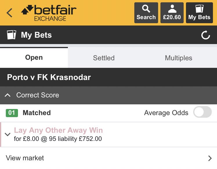 BET #18  FC Porto vs FK Krasnodar   Lay Any Other Away Win @ 95.0   Potential profit after commission = £7.60   #LayBettingFT<br>http://pic.twitter.com/lfPBofXs6C